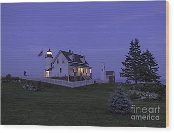 Pemaquid Point Light - Blue Hour Wood Print