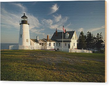 Pemaquid Point Lighthouse At Sunset Wood Print