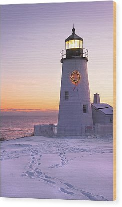 Pemaquid Point Lighthouse Christmas Snow Wreath Maine Wood Print