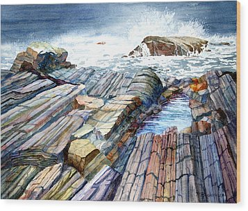 Wood Print featuring the painting Pemaquid Rocks by Roger Rockefeller