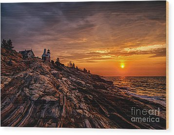 Pemaquid Sunrise  Wood Print by Jerry Fornarotto