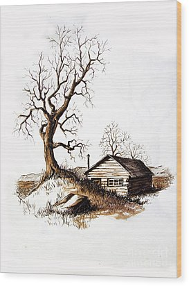 Wood Print featuring the drawing Pen And Ink 1 by Carol Hart