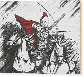 Pen And Ink Drawing Of Soldier With Horses Wood Print by Mario Perez