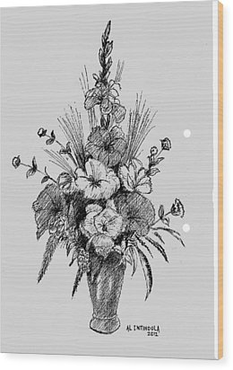 Pen And Ink Flowers Wood Print