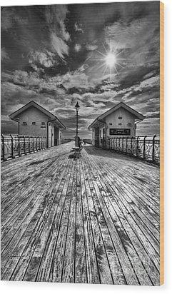 Penarth Pier 2 Monochrome Wood Print