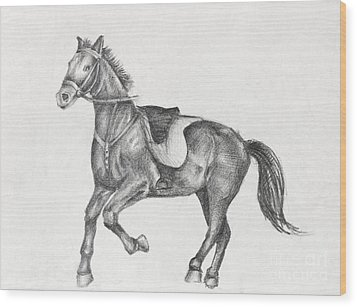Pencil Drawing Of A Running Horse Wood Print by Kiril Stanchev