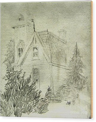 Pencil Sketch Of Old House Wood Print