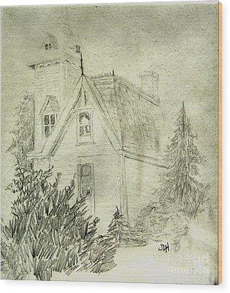 Pencil Sketch Of Old House Wood Print by Joseph Hawkins