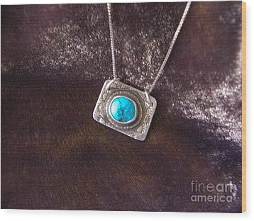 Pendant With Turquoise Wood Print by Patricia  Tierney