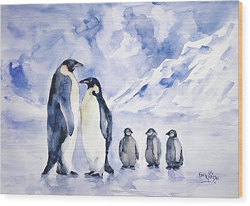 Penguin Family Wood Print by Faruk Koksal