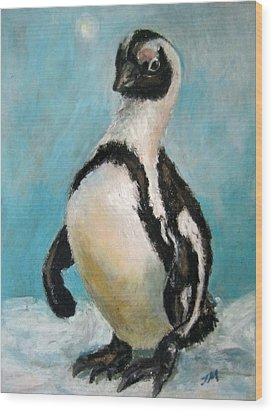 Wood Print featuring the painting Penguin by Jieming Wang