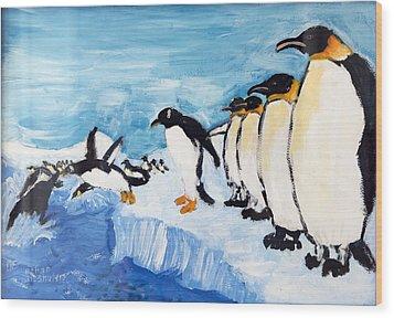 Penguins Wood Print by Ethan Altshuler