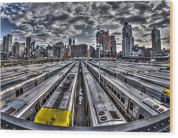 Penn Station Train Yard Wood Print by Rafael Quirindongo
