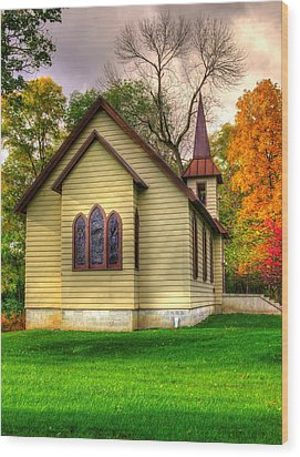 Pennsylvania Country Churches - Heckton Church At Fort Hunter Autumn - Dauphin County Wood Print