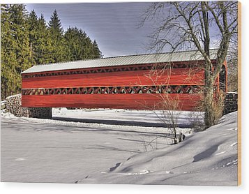 Pennsylvania Country Roads - Sachs Covered Bridge Over Marsh Creek B1 - Adams County Winter Wood Print by Michael Mazaika