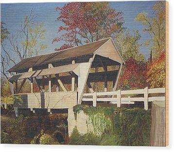 Pennsylvania Covered Bridge Wood Print by Barbara McDevitt