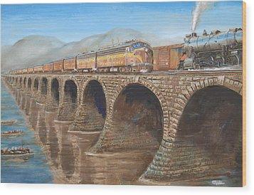 Pennsylvania Railroad On The Rockville Bridge Wood Print by Christopher Jenkins