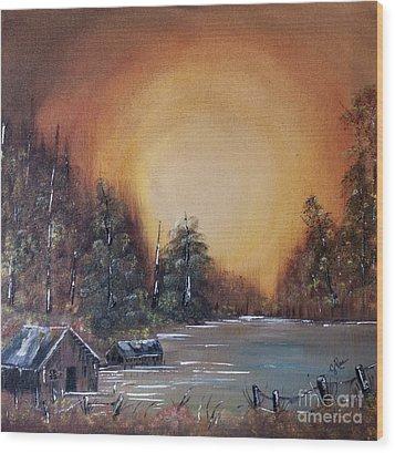 Pennsylvania Shenango Dawn In Oil Wood Print by Janice Rae Pariza