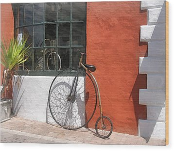 Penny-farthing In Front Of Bike Shop Wood Print by Susan Savad
