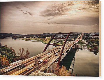 Wood Print featuring the photograph Pennybacker Bridge Sunset by John Maffei