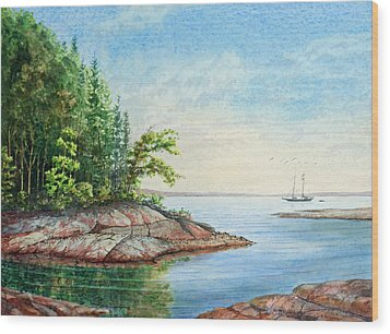 Wood Print featuring the painting Penobscot Inlet by Roger Rockefeller