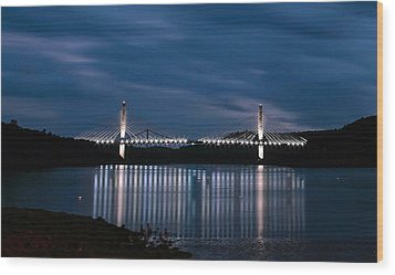 Penobscot Narrows Bridge And Observatory At Night Wood Print by Barbara West