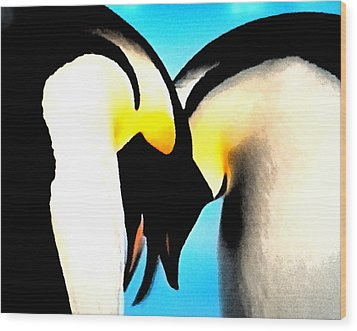 Penquin Love Dance Wood Print