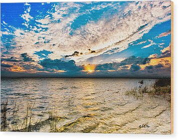 Wood Print featuring the photograph Pensacola Bay Florida-golden Sun Rays Glorious Sunset Light by Eszra Tanner