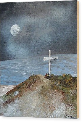 Wood Print featuring the painting Pensacola Beach By The Light Of The Moon by Eloise Schneider