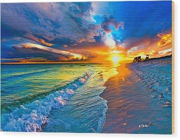 Pensacola Florida-beach Waves-sun Burst Shoreline Wood Print by Eszra Tanner
