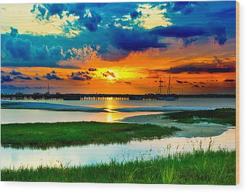 Wood Print featuring the photograph Pensacola Florida Harbor-radiant Red Sunset-green Grass by Eszra Tanner