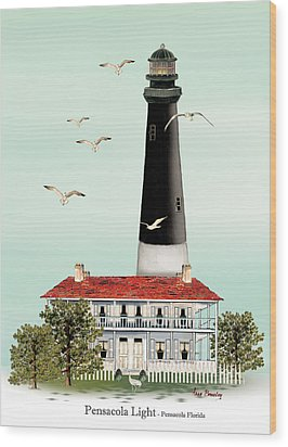 Pensacola Light House Wood Print