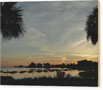 Pensacola Sunset Wood Print by Cindy Croal