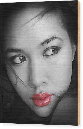 Pensive Beauty Wood Print