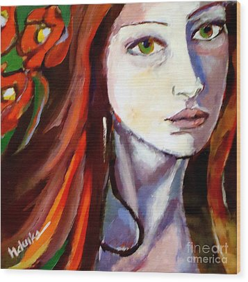 Wood Print featuring the painting Pensive Lady by Helena Wierzbicki