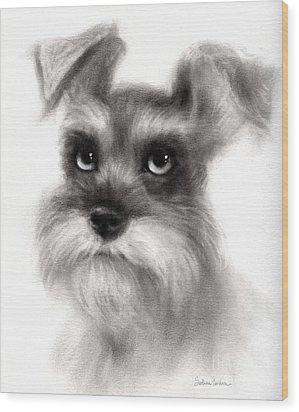 Pensive Schnauzer Dog Painting Wood Print by Svetlana Novikova