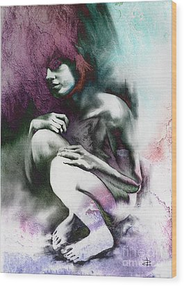 Wood Print featuring the drawing Pensive With Texture by Paul Davenport