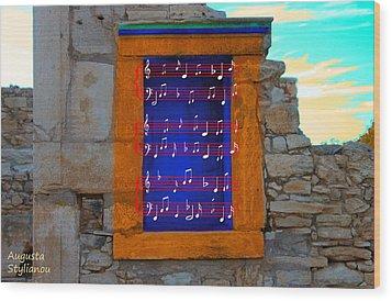 Pentagram Window At Apollo Wood Print by Augusta Stylianou