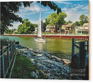 Pentwater Channel Michigan Wood Print by Nick Zelinsky