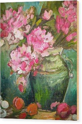 Peonies And Peaches Wood Print by Carol Mangano
