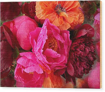 Peonies And Poppies Vibrant Bouquet Wood Print