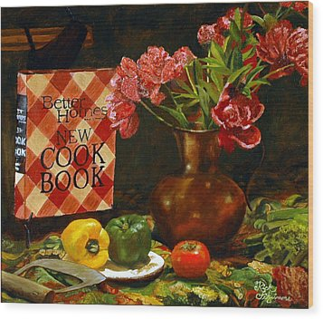 Wood Print featuring the painting Peonies And Recipes by Rick Fitzsimons