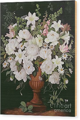 Peonies And Wisteria Wood Print by Lizzie Riches