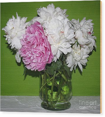 Wood Print featuring the photograph Peonies Bouquet 3 by Margaret Newcomb
