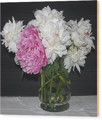 Wood Print featuring the photograph Peonies Bouquet 4 by Margaret Newcomb