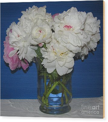 Wood Print featuring the photograph Peonies Bouquet 5 by Margaret Newcomb