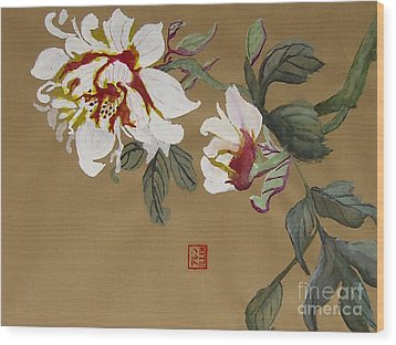 Peonies Chinese Watercolor Art Wood Print