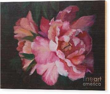 Peonies No 8 The Painting Wood Print by Marlene Book