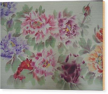 Peony  0725-5 Wood Print by Dongling Sun