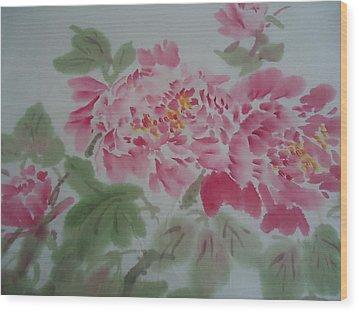 Peony 1 Wood Print by Dongling Sun